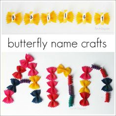 Help children learn their names with a colorful butterfly craft. Hands-on butterfly crafts that encourage literacy learning. Perfect for a butterfly theme. Name Activities Preschool, Name Writing Activities, Insect Activities, Preschool Projects, Preschool Activities, Preschool Learning, Learning Centers, Caterpillar Preschool, Hungry Caterpillar