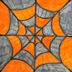 Colorful Spiderweb - Use complementary colors! Can teach color schemes, patterns, symmetry, rotation Art Plastique Halloween, Spider Web Drawing, Fall Art Projects, Class Projects, Diy Projects, Easy Art Lessons, Fall Drawings, 4th Grade Art, Grade 3