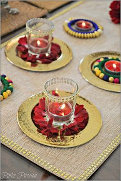 Pinkz Passion : A Dash of Glam on your table ( Diwali Tablescape) - Vanisree Dasaraju - Diwali Decoration Lights, Diya Decoration Ideas, Diwali Decorations At Home, Flower Decorations, Decor Ideas, Indian Decoration, Handmade Decorations, Diwali Party, Diwali Craft