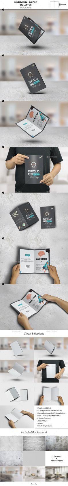 Horizontal Bifold Brochure US Letter Mockups Design Template PSD. Download here: http://graphicriver.net/item/horizontal-bifold-brochure-us-letter-mockups/16887084?ref=yinkira