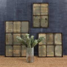 Give your space a vintage industrial feel with these distressed iron paned windows outfitted with heavily antiqued mirrors. Available in 4 pane, 6 pane, and 9 pane sizes.