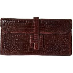 Pre-owned Hermès Jige Crocodile Clutch Bag (162.597.245 IDR) ❤ liked on Polyvore featuring bags, handbags, clutches, burgundy, croc purse, hermes purse, burgundy purse, croc handbags and croco embossed handbags