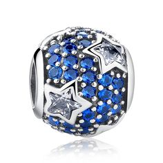 Bamoer 925 Sterling Silver Follow the Stars Beads Fit Pandora Bracelet with Blue Crystal Cubic Zirconia