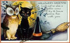 vintage halloween cats - Google Search