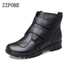 Plus Size 2017 new Genuine Leather boots winter shoes middle-aged mom shoes women shoes boots ankle wedge warm snow boots shoes Warm Snow Boots, Snow Boots Women, Winter Fashion Boots, Winter Shoes, Shoes Boots Ankle, Women's Shoes, Plus Size Boots, Casual Boots, Women Trousers