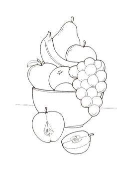 Super Fruit Basket Drawing For Kids Ideas Vegetable Coloring Pages, Fruit Coloring Pages, Coloring Book Pages, Coloring Pages For Kids, Free Coloring, Adult Coloring, Fruits And Vegetables Pictures, Vegetable Pictures, Art Drawings For Kids