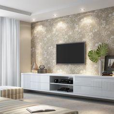 Home de madeira com papel de parede sala grande в 2019 г. Modern Tv Unit Designs, Modern Tv Units, Living Room Tv Unit Designs, Modern Dressing Table Designs, Modern Design, Tv Wall Design, Ceiling Design, House Design, Ceiling Ideas
