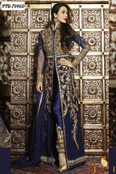 Famous Indian Bollywood celebrity and dancer Malaika Arora special designer anarkali style Bollywood Salwar Kameez online shopping collection for upcoming festival eid, Order Online@...