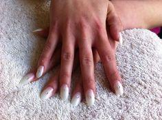 Pearl nails with rhinestone! X