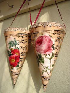 Cornets with rose Planter Pots, Rose, Handmade, Roses, Hand Made, Plant Pots, Handarbeit