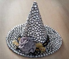 Decoden Witch Hat with Mod Podge Collage Clay and Rhinestones