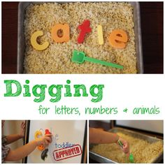 Have your little one dig for the letters in her name. // toddler approved Have her dig up her name and spell it on her easel and then hide the letters again! Toddler Play, Toddler Learning, Toddler Preschool, Toddler Crafts, Fun Learning, Toddler Games, Toddler Stuff, Learning Letters, Learning Tools