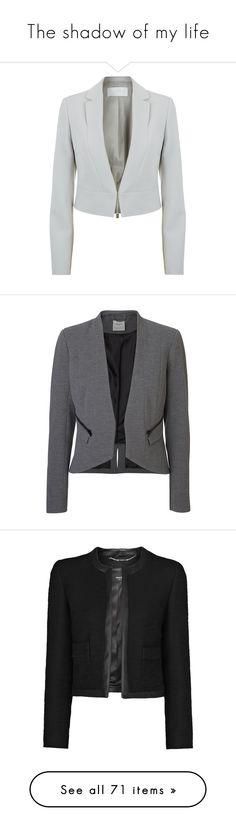 """The shadow of my life"" by anaritaferreira on Polyvore featuring outerwear, jackets, blazers, blazer, boss hugo boss, light grey blazer, cropped blazer, cropped jacket, evening jacket and coats"