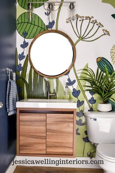 A hand-painted mural is easier than you think! This step-by-step tutorial will show you how to add color and style to your walls with this inexpensive wallpaper alternative! Interior Walls, Interior Design, Eclectic Bathroom, Modern Moroccan, Accent Wall Bedroom, Alternative, Beautiful Bathrooms, Wall Decor, Bathroom Designs