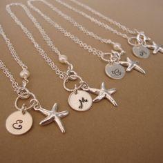 Three Personalized Starfish bracelets sterling by bridegirls, $78.00