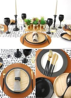 Father's Day Masculine Tablescape Ideas - ideas for a chic, modern but manly table setting in black, white, brown & gold with easy, DIY details! Black Wine Glasses, Small Wooden Tray, Starter Plates, Mini Photo Frames, Gold Planter, Table Centerpieces, Table Decorations, White Table Settings, Festive Crafts