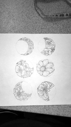 floral phases of the moon tattoo idea