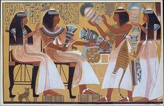 Ipuy and Wife Receive Offerings from Their Children (substantially restored) Artist: Norman de Garis Davies (1865–1941) Period: New Kingdom, Ramesside Dynasty: Dynasty 19 Reign: reign of Ramesses II Date: ca. 1279–1213 B.C. Geography: From Egypt, Upper Egypt; Thebes, Deir el-Medina Medium: Tempera on paper Dimensions: framed: h. 51.1 cm (20 1/8 in); w. 77.2 cm (30 3/8 in) facsimile: h. 47.5 cm (18 11/16 in); w. 74 cm (29 1/8 in) scale 1:3 Credit Line: Rogers Fund, 1930 Accession Number…