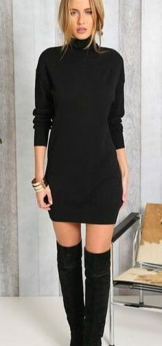 Fashion Solid High Neck Sweater Dress More