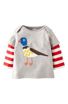 Mini Boden 'London' Appliqué  Layered Sleeve T-Shirt (Baby Boys) available at #Nordstrom