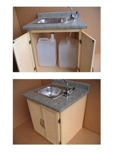 Sink without plumbing perfect for our cabin at the lake bad aufbewahrung bad pimpen bad renovieren bad umbauen bad waschbecken Van Living, Tiny House Living, Dry Cabin Living, Camping Am See, Portable Sink, Kombi Home, Cabin Tent, Remodeled Campers, Camping Hacks