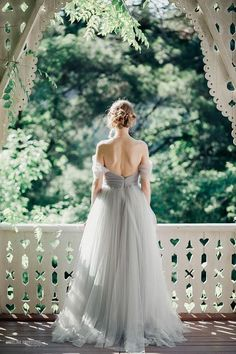 Open back bridal gown Grey wedding dress Bohemian wedding
