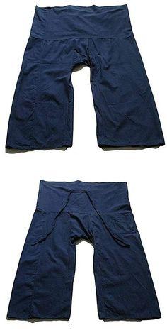 Yoga Pants Thai Fisherman Trousers Navy Blue Cotton Drill Free Size