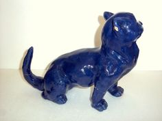 Antique French Terracotta Faience Roof Galle Style Art Pottery Cat Figurine | eBay