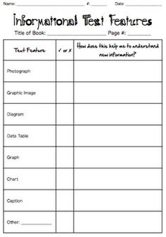 Printables Text Features Worksheets 4th Grade texts text features and quizes on pinterest this graphic organizer worksheet is set up as a check list for informational or non fiction also includes column students to