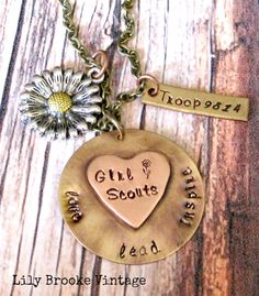 Girl Scout Hand Stamped Troop Number Necklace - Girl Scout Leader, Inspire, Lead, Daisy Charm
