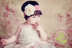 Infant Headband-Cream Flower Headband-Wide Lace Headband-Vintage Look