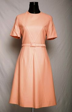 Peach wool crepe 70s dress from BeBopaLouLou Vintage - love the chevron seams on this!