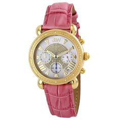 "JBW Women's JB-6210L-D ""Victory"" Pink Gold Leather Diamond Watch"