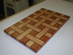 Basket Weave Cutting Boards - Woodworking creation by End Grain Cutting Board, Diy Cutting Board, Wood Cutting Boards, Chopping Boards, Woodworking Projects Plans, Teds Woodworking, Fun Projects, Wood Projects, Got Wood