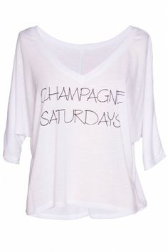 """Champagne Saturdays'' v-neck, cropped length super soft hand and moderate stretch throughout. $48 #bevello"