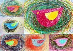 Je vous parlais, hier de l'artiste Otto Zitko qui plaçait le gribouillage au rang d'oeuvre d'art.Voici une façon de le mettre en valeur et cela dès la section des tout-petits en le transformant en nid