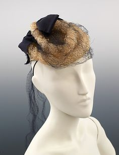 1942, America - Dinner hat by Sally Victor - Synthetic, silk