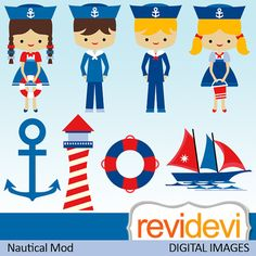 Clipart Nautical Mod 07441.. Commercial use digital by revidevi