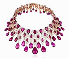 Rubellite Tourmaline and Diamond Necklace. This masterpiece required over 1,000 hours of craftsmanship and totals over 100 carats of brilliant cut, marquise cut and rose cut pear shaped diamonds. by Chopard