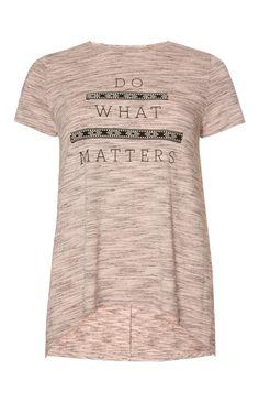 Primark - Blush Aztec Slogan Swing T-Shirt