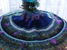"CUSTOM 48"" Peacock Feather Christmas Tree Skirt, Wall Hanging or Tablecover. $500.00, via Etsy."