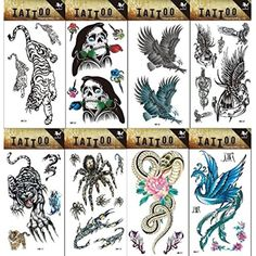 Wonbeauty 8pcs different Fake and real temp tattoo stickers in a package, it including eagle,skull and snake,phoenix,spider, tiger tattoo stickers * You can find out more details at the link of the image. (This is an affiliate link) #Makeup