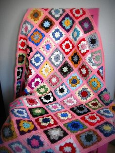 Granny square afghan.  Nice arrangement.  Flickr has great pics, but no instructions.  This is for idea purposes.