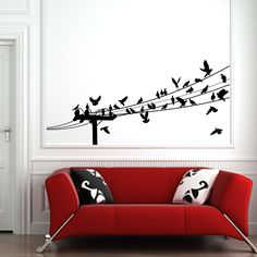 Love the birds on a wire art.  I'd like it even better with an extra large vintage looking couch!