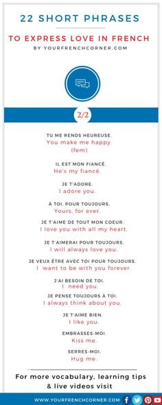 22 Short Phrases To Express Love In French #french #fle #fsl
