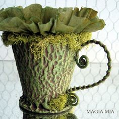 Magia Mia: Forest Fairy Tea Cup from Seed Starter Pots Green Reindeer Moss, Crepe Paper, Wire, Glue Gun, Paint