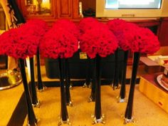 Black white and red wedding items! :  wedding black red white ceremony diy reception Wedding Center Pieces