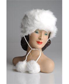 Faux fur hat with pompoms