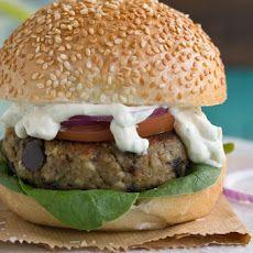 Aubergine And Feta Burger With Minty Creme Fraiche
