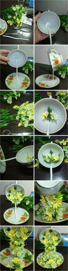 How to connect two things at a distance - DIY Topiary Flower Flying Cup Decorations.Best Homemade Valentines Gifts for Her To Express Your Love Valentines Gifts For Her, Homemade Valentines, Decor Crafts, Diy Home Decor, Diy And Crafts, Book Crafts, Room Decor, Diy Flowers, Paper Flowers